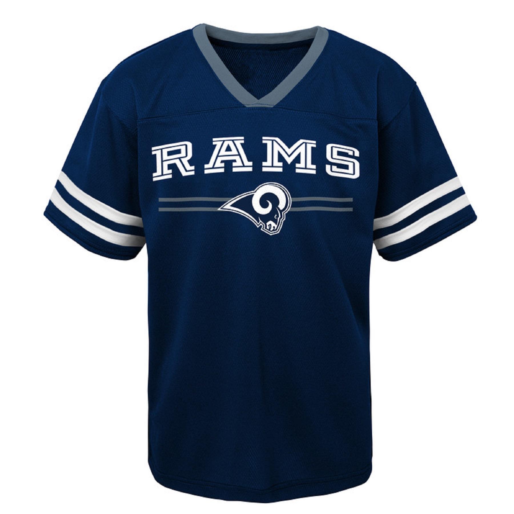 Youth Navy Los Angeles Rams Mesh V-Neck T-Shirt