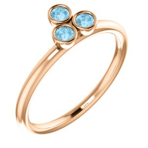 Jewels By Lux 14K Rose Gold Polished Genuine Aquamarine Stackable Ring Size 7
