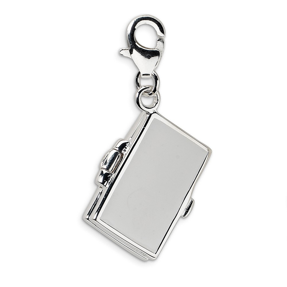 925 Sterling Silver Enameled 3-D Note Book w//Lobster Clasp Charm