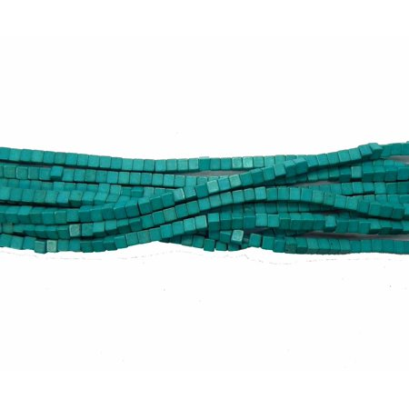 Sea Green 4x4mm Cube Chalk Turquoise Dyed Mix Gemstone, Loose Beads, Approx 15 inch of Loose Strand ()