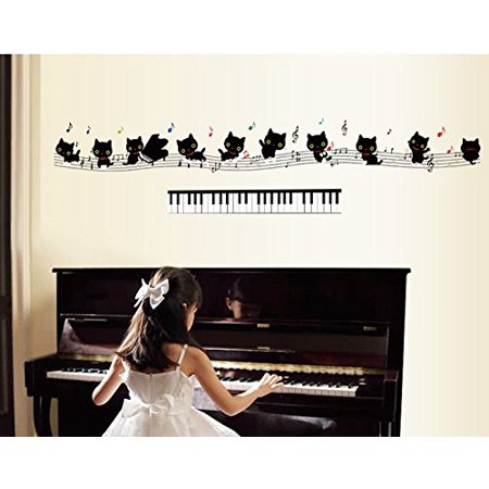 TOTOMO #W158 Piano Cat Wall Decals Removable Wall Decor Decorative ...