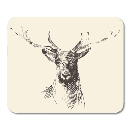 SIDONKU Dear Deer Head Engraving Vintage Sketch Stag Black Lithograph Mousepad Mouse Pad Mouse Mat 9x10 inch
