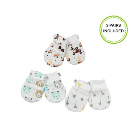 21129eae2 Anti-Scratch Newborn Baby Mittens (0-6 months) 3 pairs