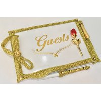 All Occasion Guest Book with Pen Set For Wedding Sweet 16 Birthday-Beauty and The Beast Belle Party