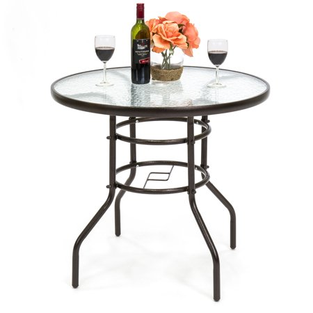 Best Choice Products 32in Round TemperedGlass Patio Dining Bistro Table w/ Umbrella Stand -Dark Brown