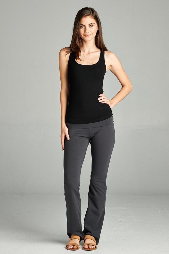 Salt Tree Women's Basic Solid Full-length Flare Bottom Knit Yoga Pants
