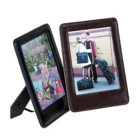 Desktop Picture Frame Full Grain Cowhide Leather Burgundy [Set of 2], • Made of full grain cowhide leather • This rich, round edge leather frame focuses attention on your favorite photos • Holds a 4 Double Gusset Full Grain Cowhide
