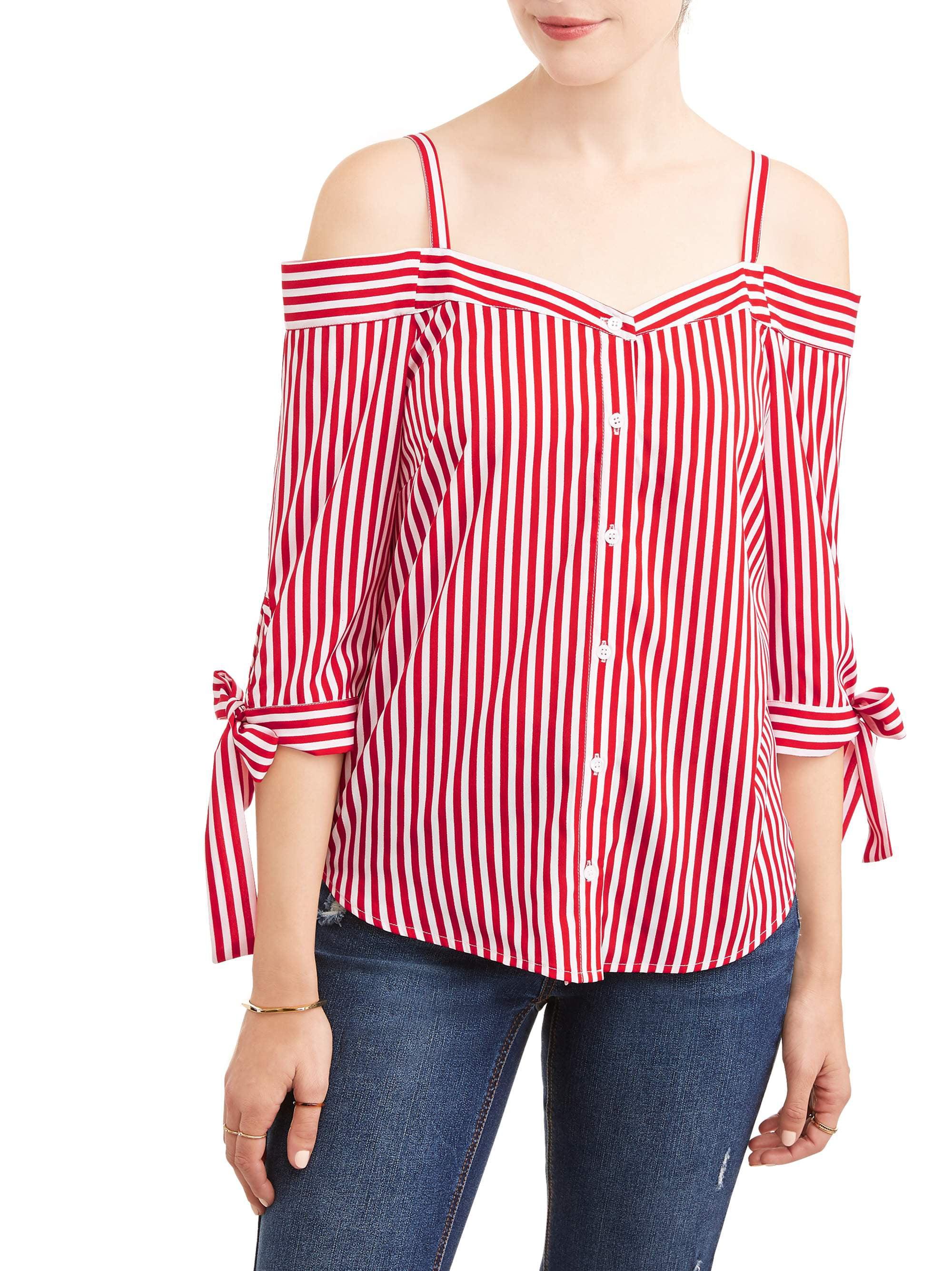 b1c5a46bfacc36 MILLENIUM - Women's Stripe Off the Shoulder Tie Sleeve Top - Walmart.com