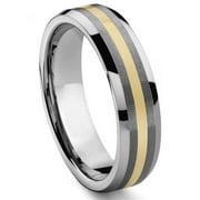 Titanium Kay 6MM Tungsten Carbide 14K Gold Inlay Comfort Fit Wedding Band Ring Sz 7.0