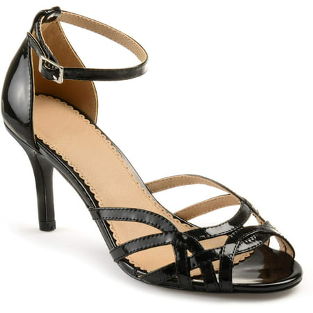 Womens Metallic Leather - Brinley Co. Womens Faux Leather Ankle Strap Metallic Heels
