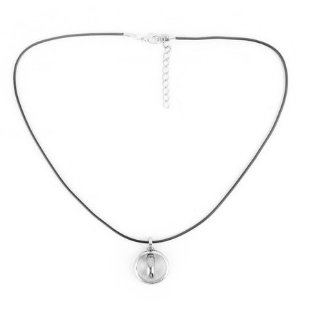 Men Nylon String Ring Shaped Pendant Adjustable Neck Ornament Chain Necklace Old Silver Neck Ring Necklace