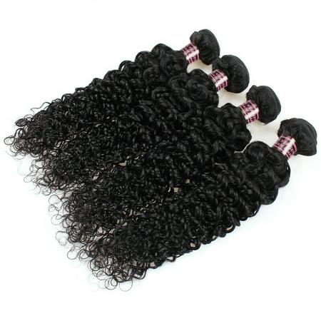 Allove 7A Brazilian Kinky Curly Virgin Hair with Closure Human Hair 4 Bundles, 22