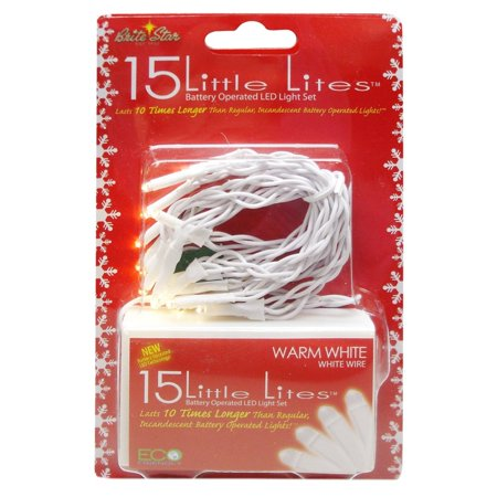 Set of 15 Battery Operated Warm White LED Little Lites Christmas ...