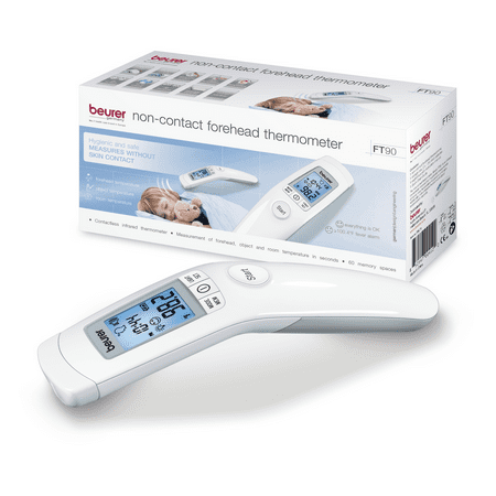 Beurer Non-Contact Forehead Thermometer   Body, Surface, Room Temperature   High Accuracy   LCD Display   60 Memory Spaces, -