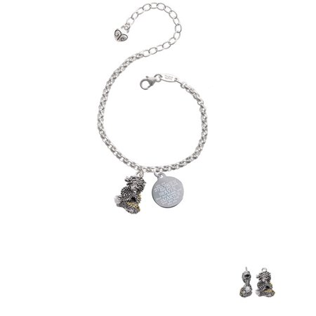 - Two-tone Dragon with Crystals Stronger Braver Smarter Engraved Bracelet