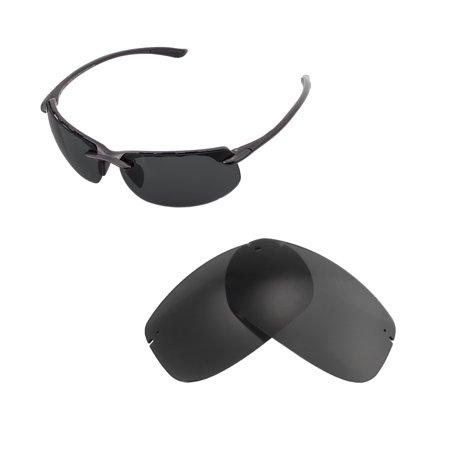 Walleva Black Polarized Replacement Lenses for Maui Jim Banyans Sunglasses
