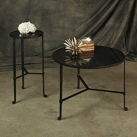 HomArt Savoy Iron & Stone Coffee Table (Black with Grey Stone)