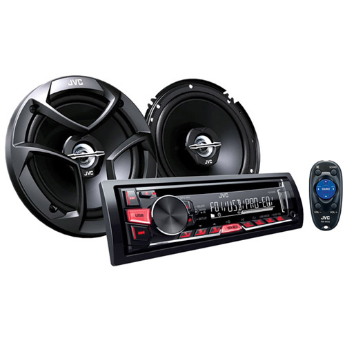 "JVC KD-PKR460 1-DIN In-Dash CD/AM/FM Receiver with 6"" x 9"" 3-Way Coaxial"
