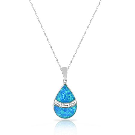 925 Sterling Silver Blue Turquoise-Tone Simulated Opal Teardrop Greek Key Pendant Necklace