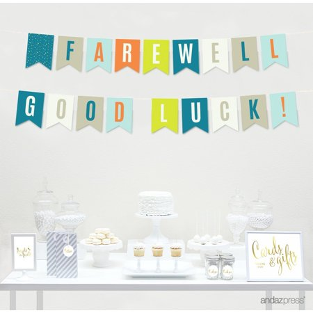 Farewell Retirement Party Decorations, Farewell! Good Luck!, Hanging Pennant Paper Banner with String, 5-Feet - Farewell Party Supplies