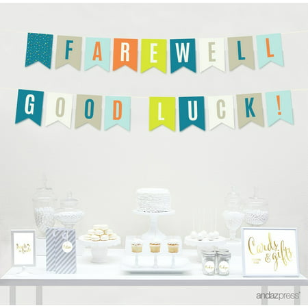 Retirement Banners Ideas (Farewell Retirement Party Decorations, Farewell! Good Luck!, Hanging Pennant Paper Banner with String,)