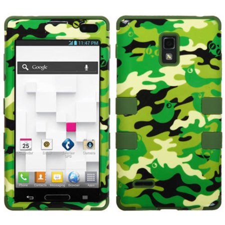 LG P769 Optimus L9 MyBat TUFF Hybrid Protector Case, Green Woodland Camo/Army Green (Lg L9 Case With Clip)