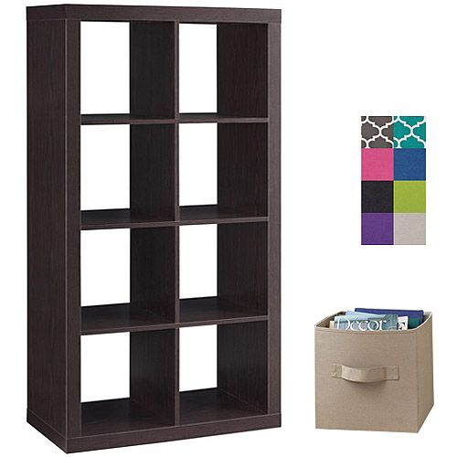 Better Homes and Gardens 8-Cube Organizer with 4 Collapsible Fabric Storage Cubes, Mix and Match Colors