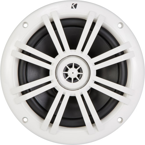 "Kicker KM60 6.5"" Marine Coaxial Speakers with 1/2"" Tweeters, White, 4-Ohm"