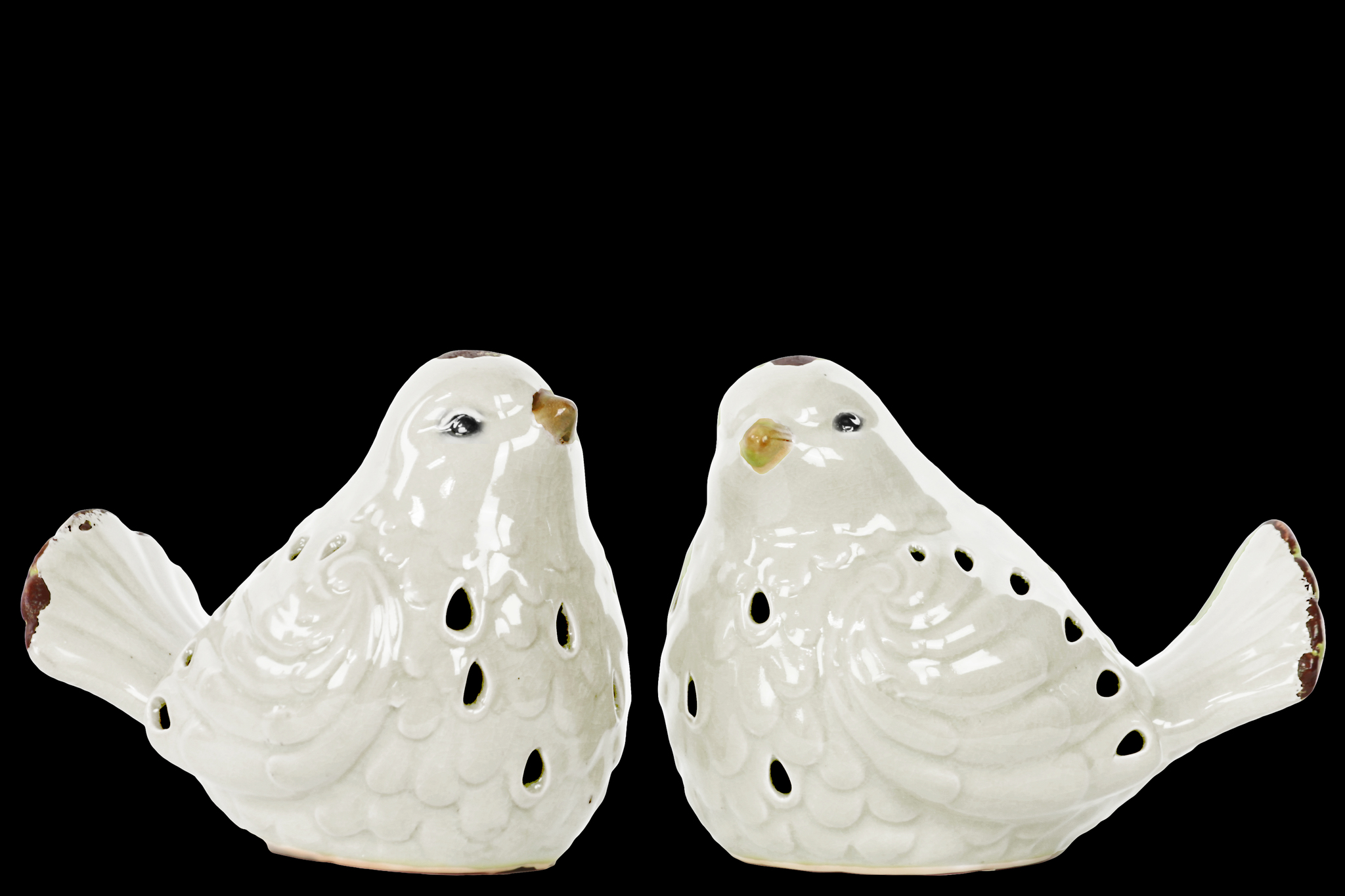 Urban Trends Collection: Porcelain Bird Figurine Gloss Distressed Finish by Urban Trends Collection