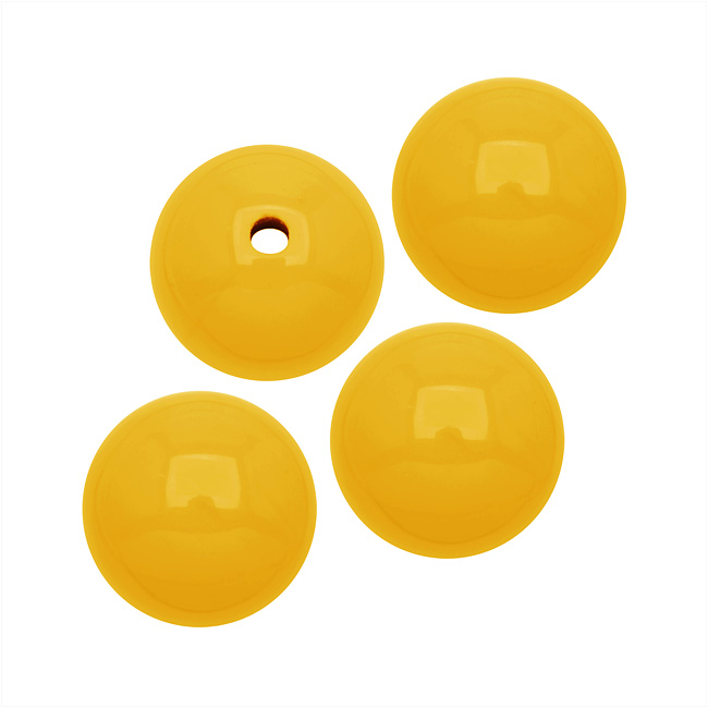 Smooth Acrylic Round Beads - Yellow - 10mm (36)