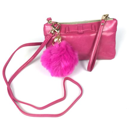 JE Matching Color Gift Set: Large Genuine 4 Inch Fur Pom Ball Keychain and Small Crossbody 8 Inch Wide Purse Bag Bundle