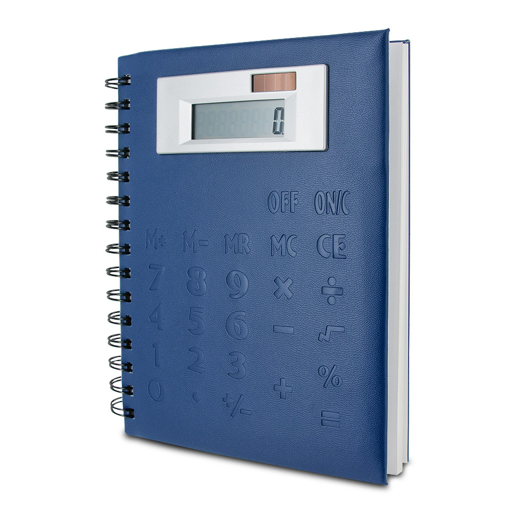Spiral Notebook with Jumbo Display Calculator Cover (Blue)