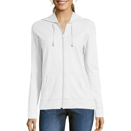 Hanes Women's Slub Jersey Cotton Full Zip Hoodie ()