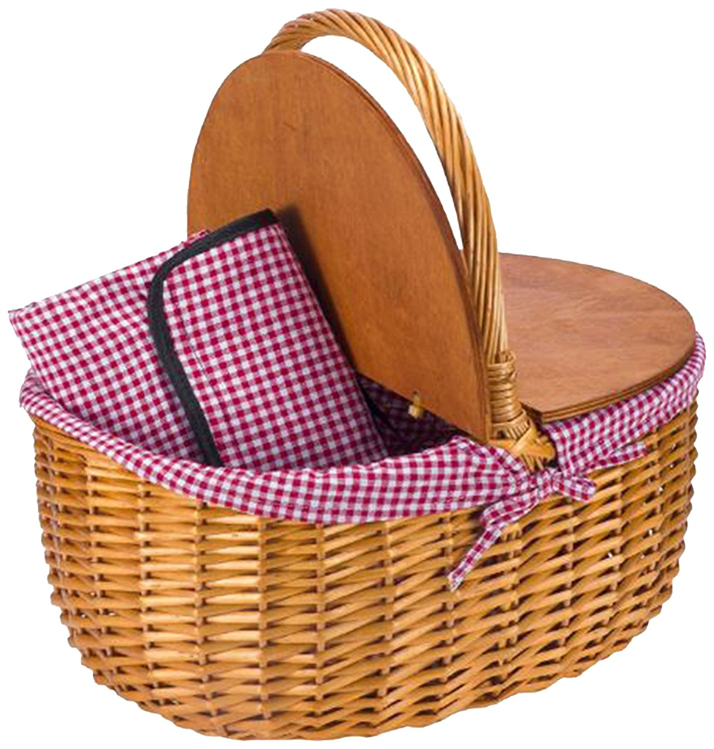 """CALIFORNIA PICNIC Picnic Basket   Double Wood Top Design  Includes FREE Oversize 57"""" x 57"""" Matching Gingham Patterned Lining Picnic BLANKET Waterproof Backing Willow Basket"""
