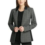 DKNY Womens Plaid One Button Blazer Jacket, Black, 10