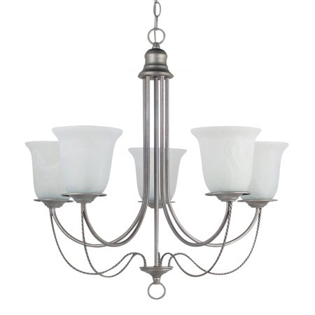 Sea Gull Lighting Plymouth 5-Light Chandelier - 26W in. Weathered Pewter