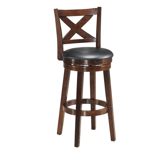 Costway Swivel Stool 29'' Bar Height X-Back Upholstered