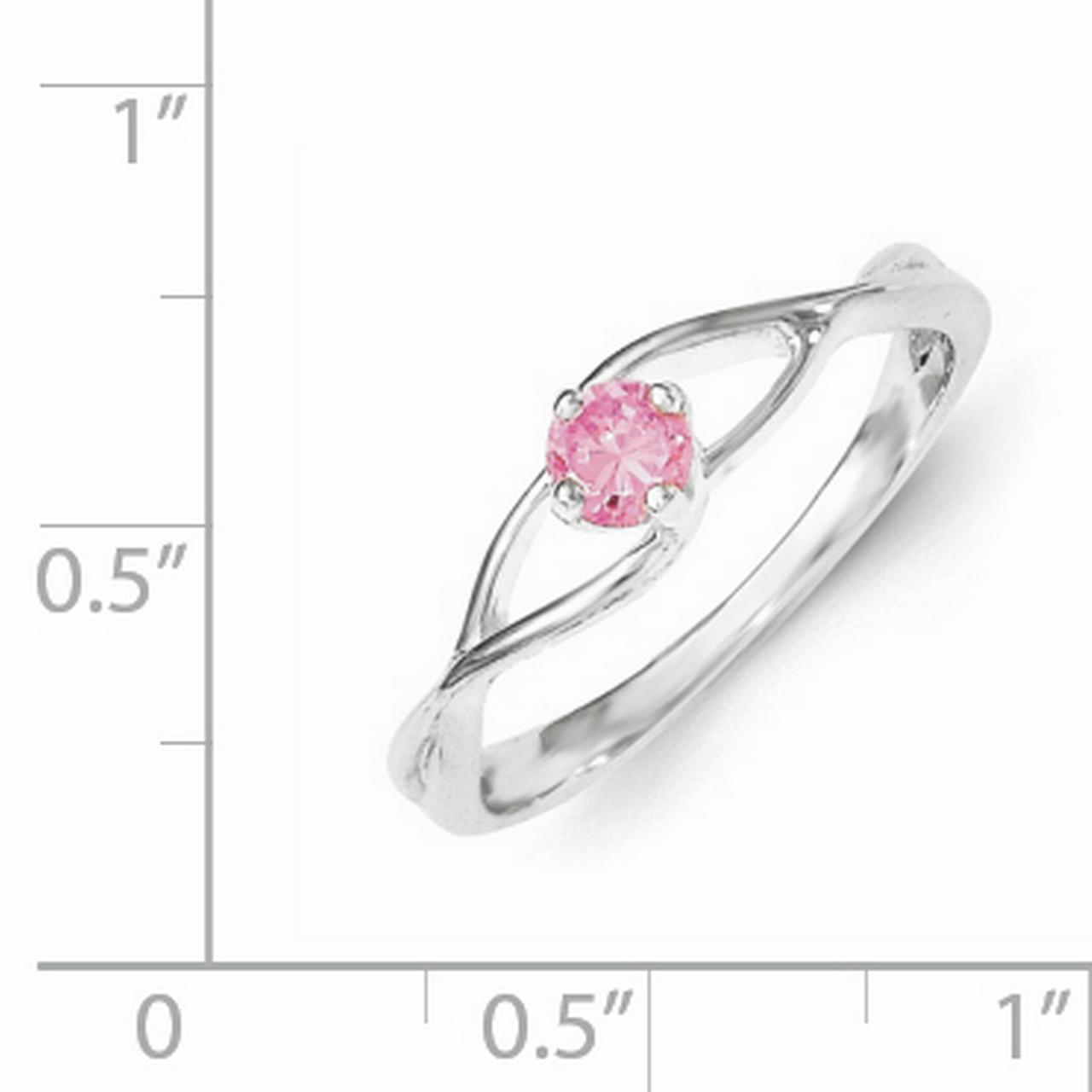 925 Sterling Silver Pink Cubic Zirconia Cz Sol Band Ring Size 6.00 Fine Jewelry Gifts For Women For Her - image 2 of 3