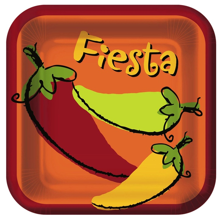 Fiesta 'Peppers' Large Square Paper Plates (8ct)