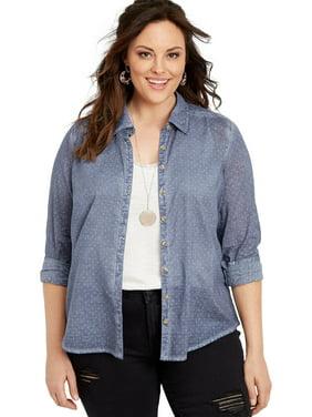 6e1e4524b Product Image Maurices Women's Button Down Shirt - Plus Size Star Dot