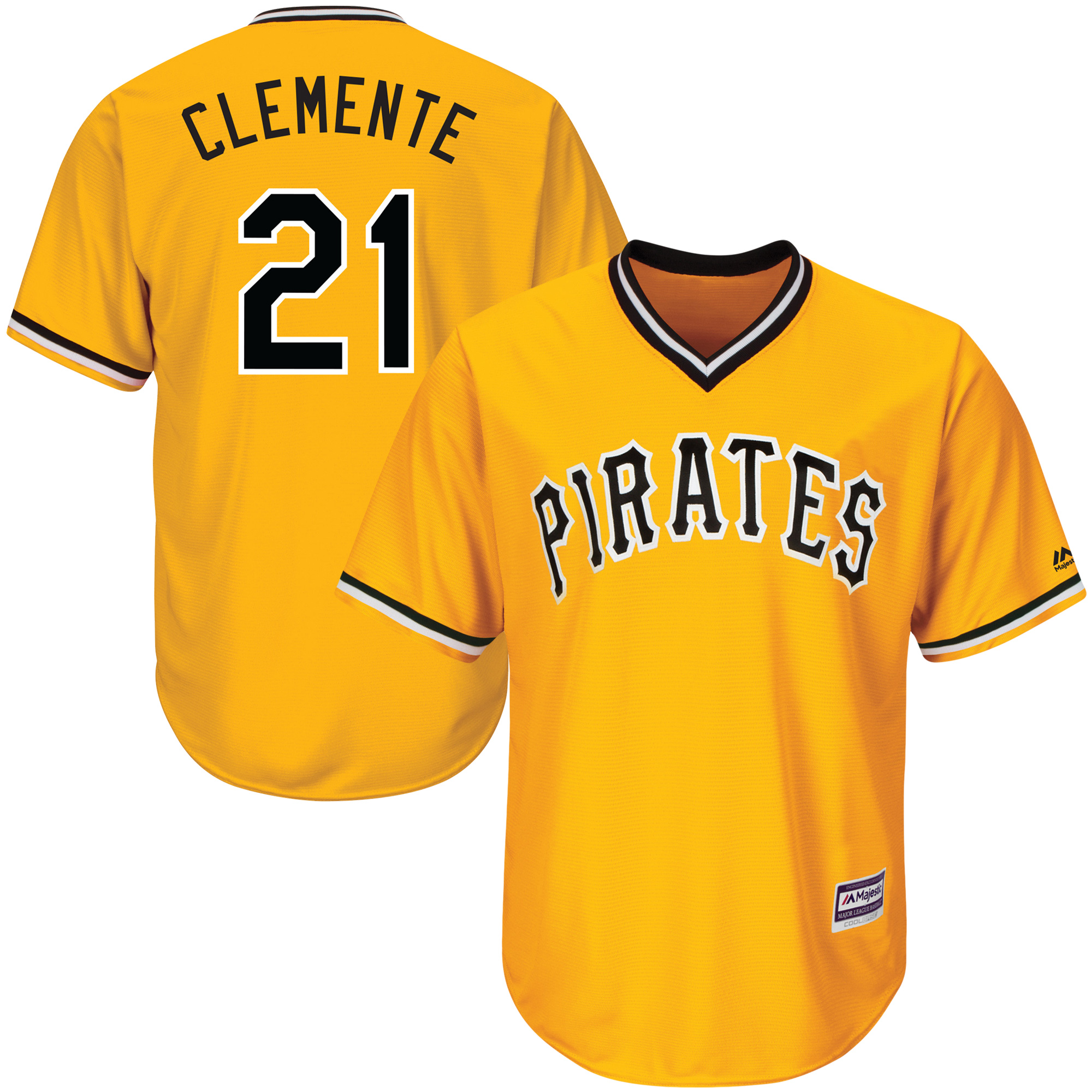 Roberto Clemente Pittsburgh Pirates Majestic Youth Alternate Official Cool Base Player Jersey - Gold