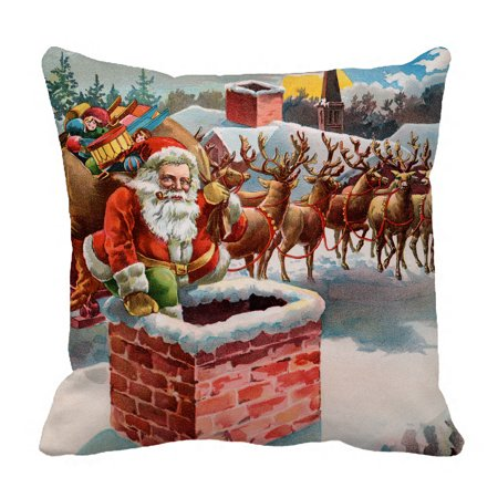 YKCG Merry Christmas Vintage Santa Claus Reindeer and Sleigh on the Roof Top Pillowcase Pillow Cushion Case Cover Twin Sides 18x18 inches ()