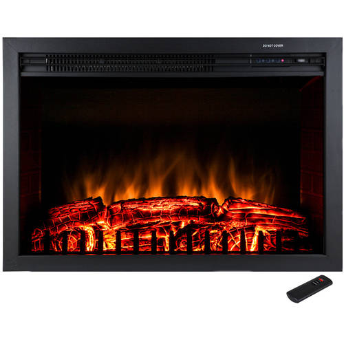 "AKDY FP0029 29"" 1500W Freestanding Electric Fireplace Insert Heater with Tempered Glass and Remote Control, Black"