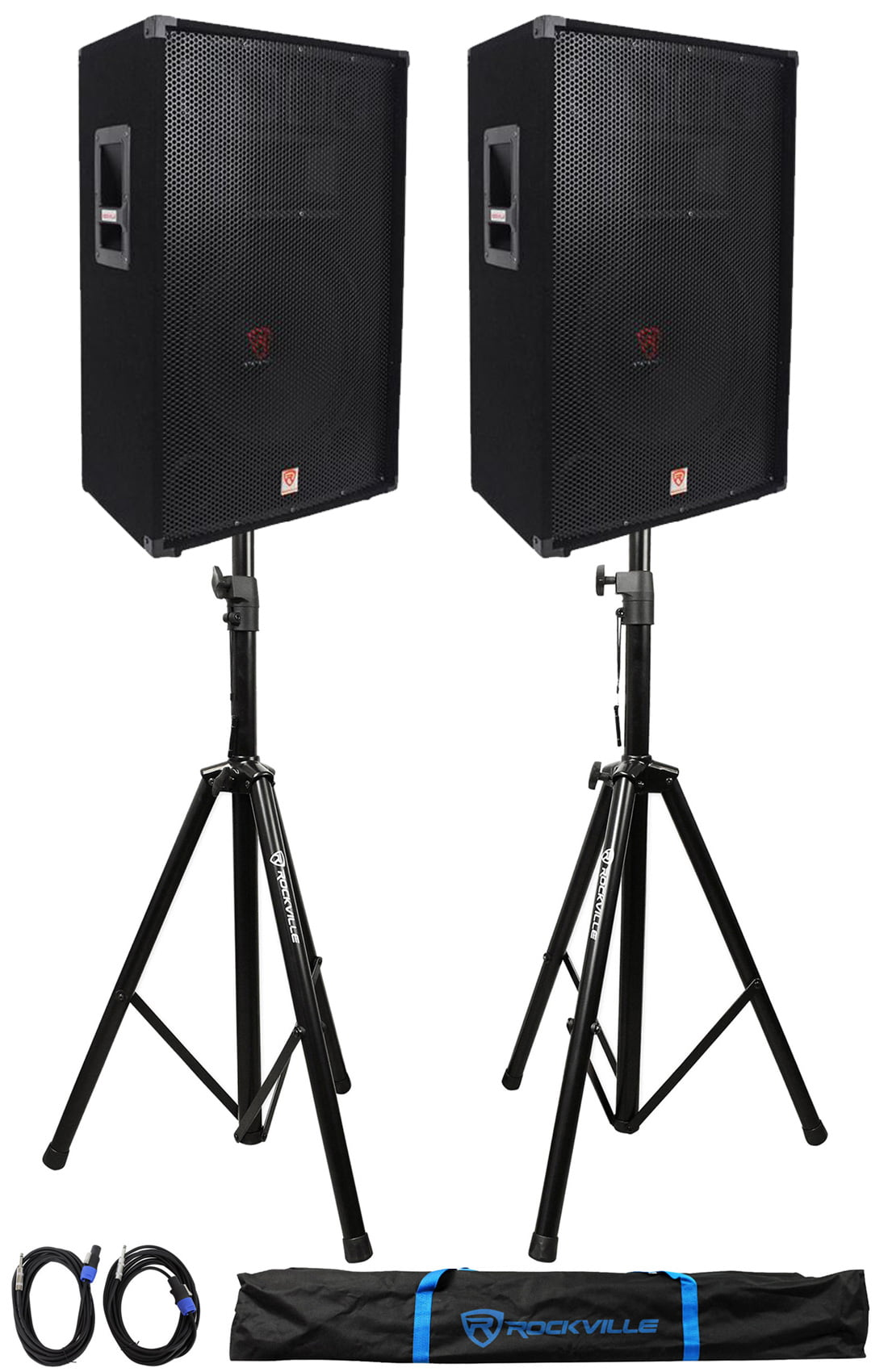 (2) Rockville RSG15 15� 3-Way 1500 Watt 8-Ohm DJ PA Speaker +Stands +Cables by ROCKVILLE