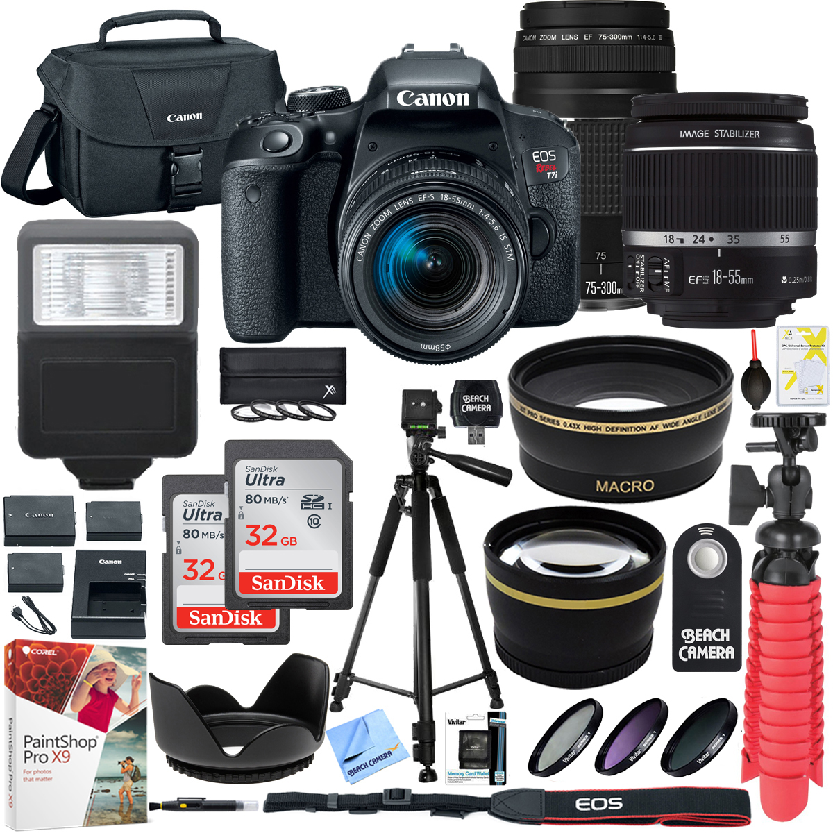 Canon EOS Rebel T7i DSLR Camera with EF-S 18-55mm IS STM & 75-300mm Lens + 2x 32GB Ultra SDHC UHS Class 10 Memory Card + Accessory Bundle (2 Lens Kit EF-S 18-55mm & EF 75-300mm)