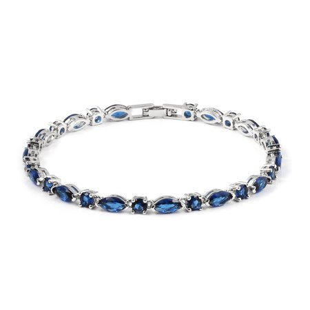 Blue Glass Bracelet (Tennis Bracelet Marquee Blue Glass Jewelry for Women Size 7.5