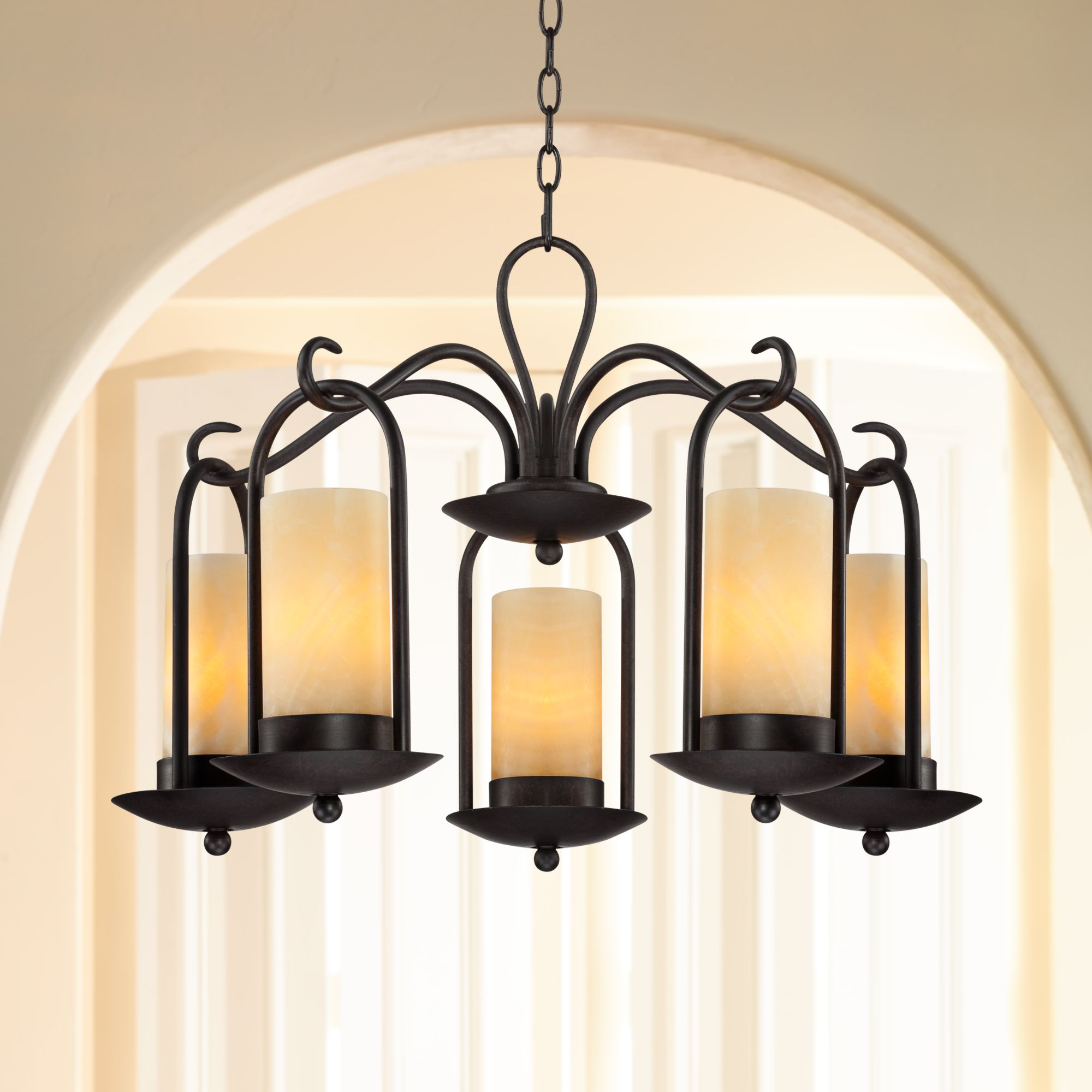 Franklin iron works onyx faux stone candle 30 wide indoor outdoor chandelier