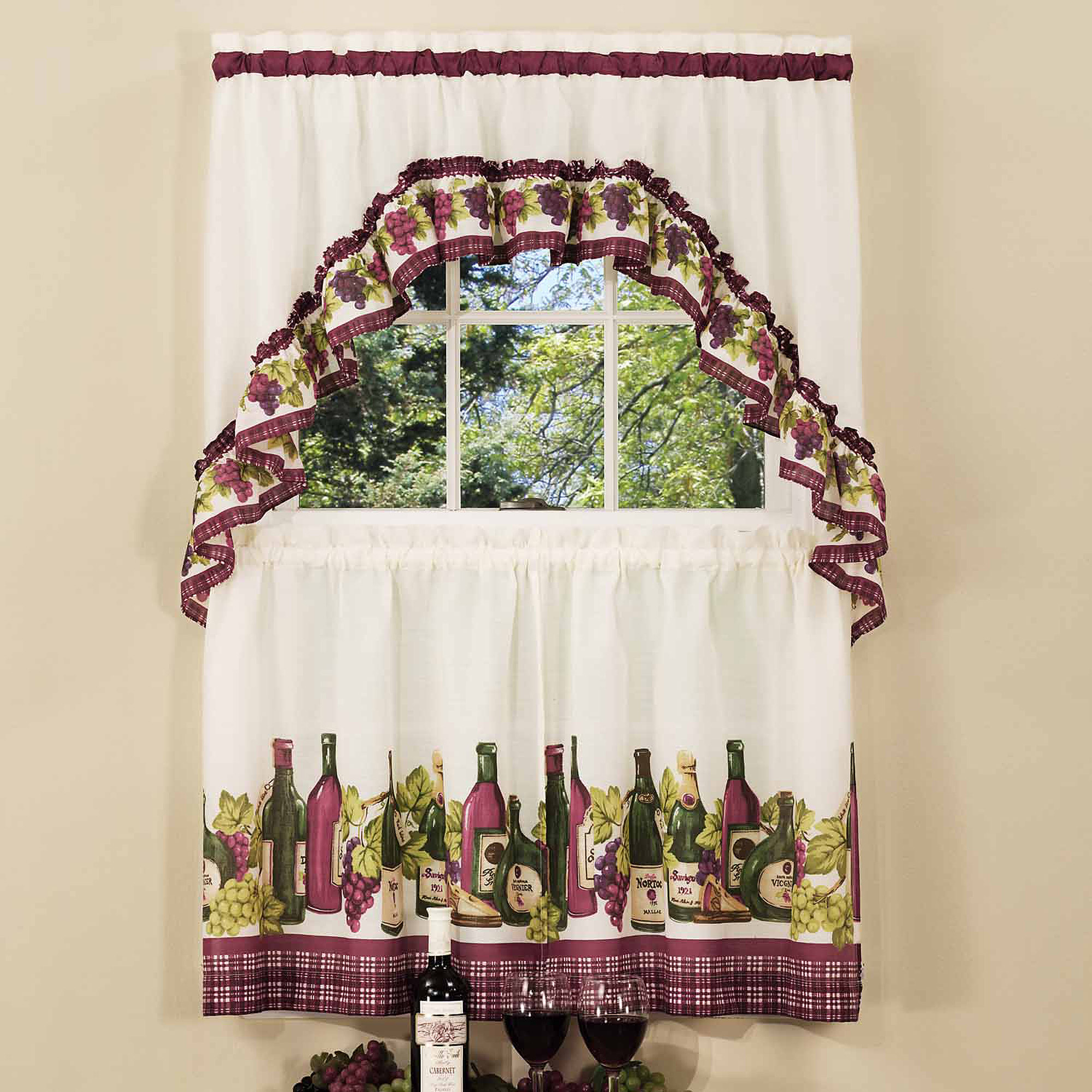 Chardonnay Kitchen Curtain & Swag Set, 1 Each