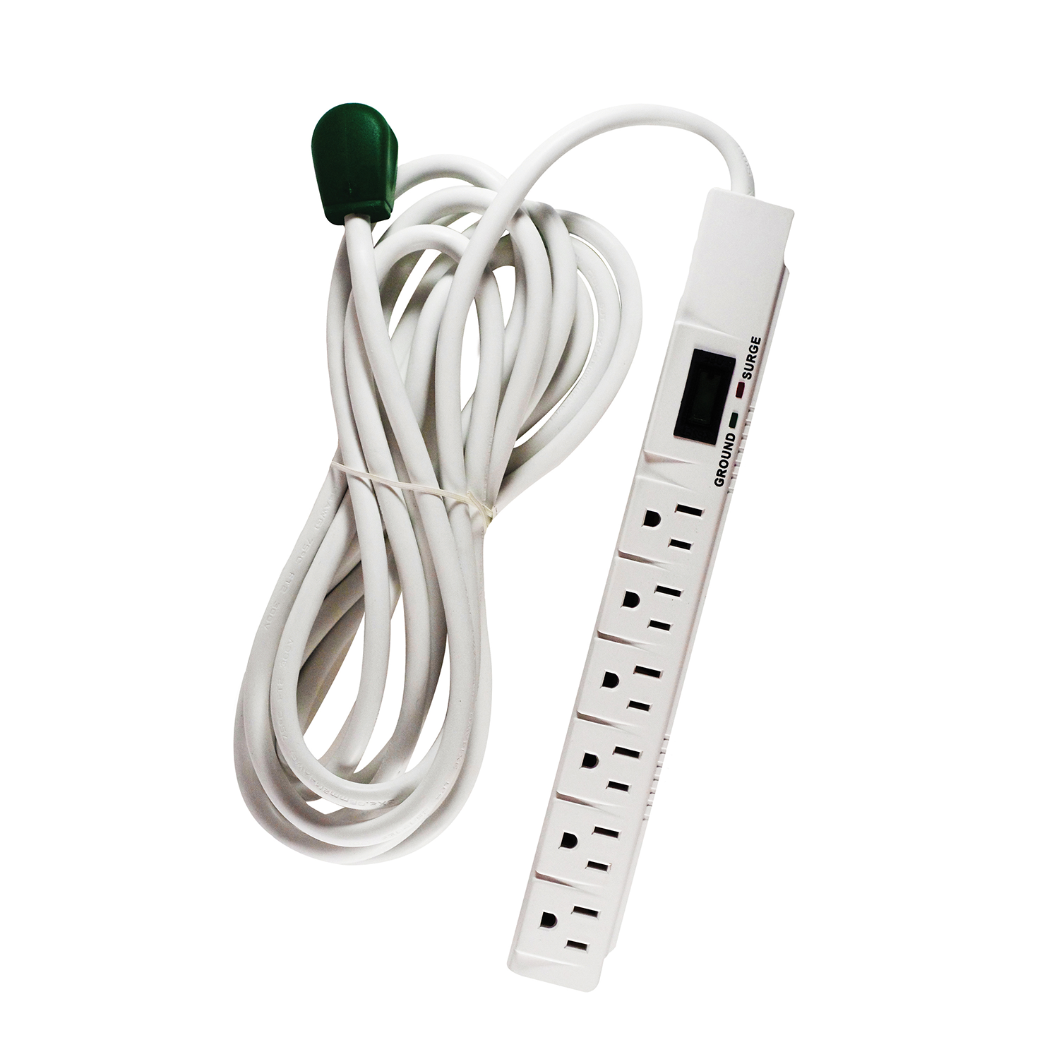 GoGreen Power 6 Outlet Surge Protector, 16315-15, 15' cord, White