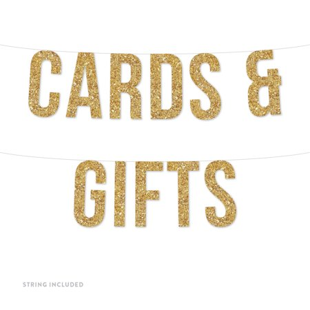 Gold Cards & Gifts Real Glitter Paper Pennant Hanging Banner Includes String No Assembly Required](Wholesale Banners Online)